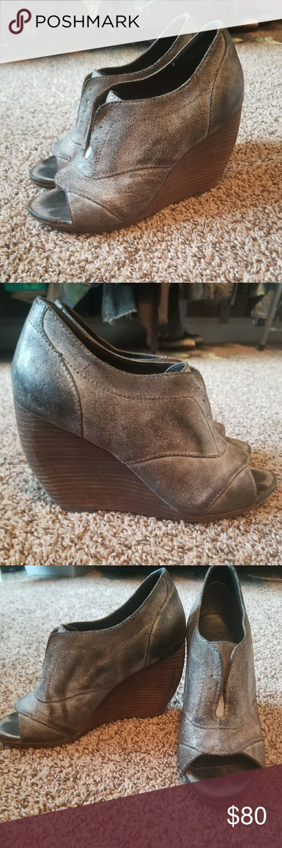 Joe's Jeans Mettalic Silver Wedge Shoes 8.5 Amazing condition, soft leather, beautiful distressed mettalic silver look Joe's Jeans Shoes Wedges