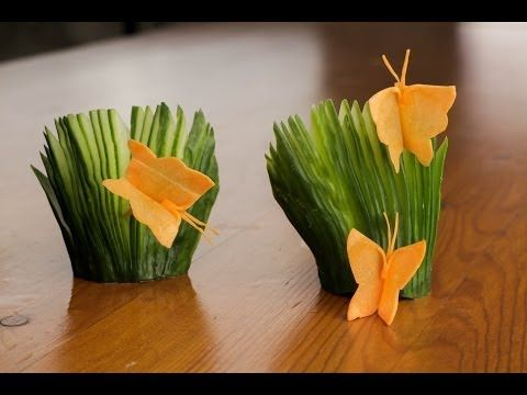 ▶ How To Make A Carrot Butterfly And Cucumber Fans Garnish - YouTube