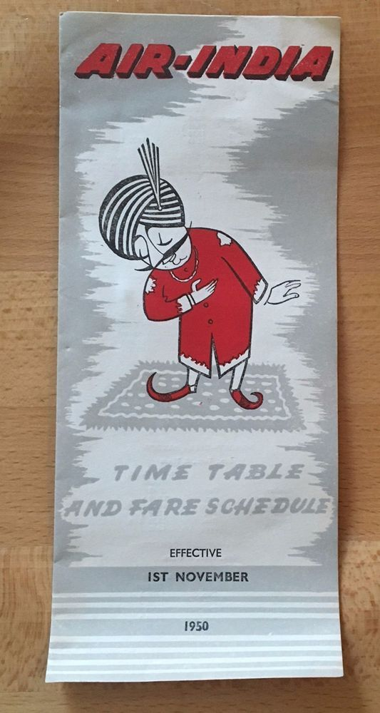 AIR INDIA Timetable and Fare Schedule Leaflet 1st November 1950 RARE