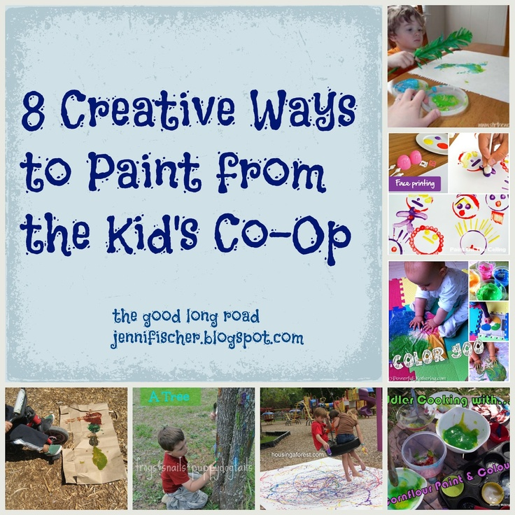 The Good Long Road: {Kid's Co-Op} 8 Creative Ways to Paint - Great ideas for keeping #art interesting this summer. #summerplay #outdoorart #creativeplay #messyplay
