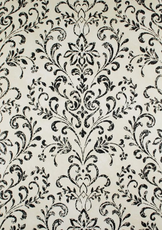 17 best ideas about grey damask wallpaper on pinterest for Black and cream wallpaper