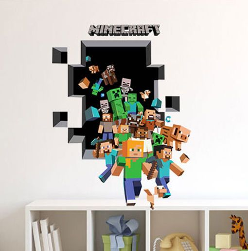 D Large MINECRAFT Removable Wall Stickers Kids Room Vinyl Wall - 3d minecraft wall decals