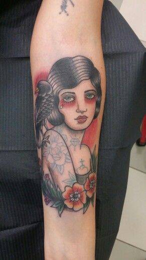 Traditional tattoo girl neotraditional Crow