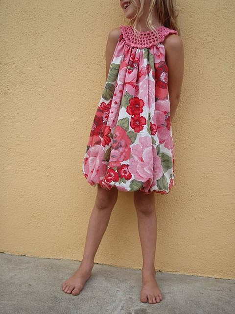 Bubble Dress with crocheted yoke