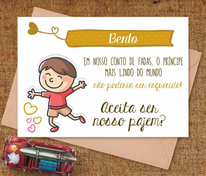 Convite pajem. #Convite #Casamento #Pajem