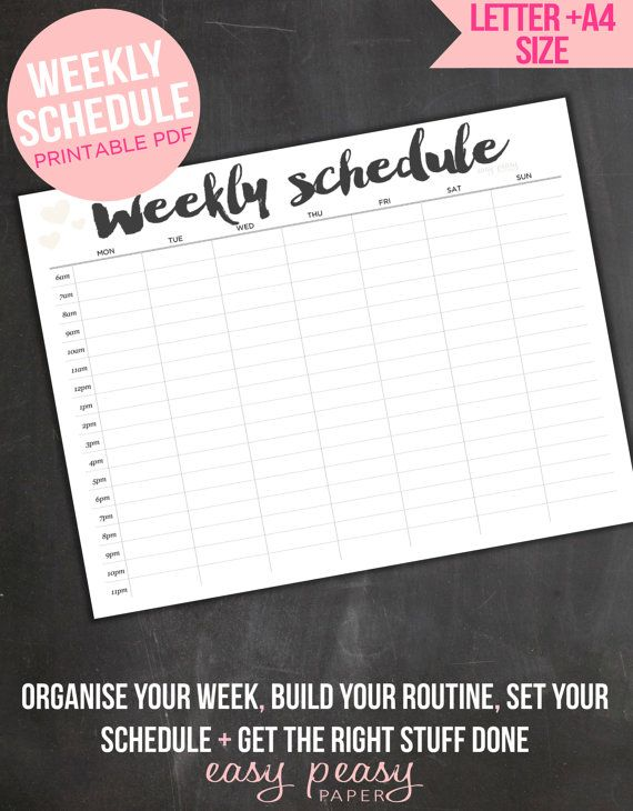 Weekly Schedule Printable  Weekly Timetable // от IndigoPrintables