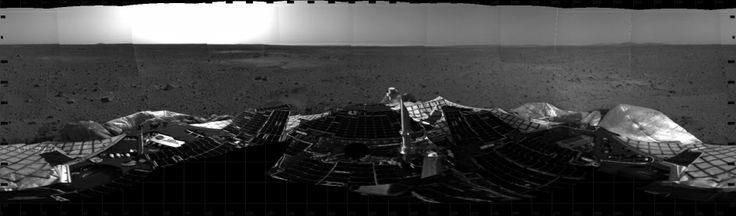 This mosaic image taken on Jan. 4, 2004, by the navigation camera on the Mars Exploration Rover Spirit, shows a 360 degree panoramic view of...