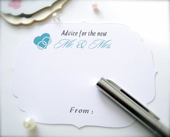Wedding advice cards guest book cards advice by PaperLovePrints