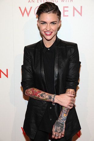 DJ Ruby Rose looked sleek and sultry in an all black menswear ensemble – complete with her trademark inked up arms. | All The Women Who Rocked The L.A. Gay & Lesbian Center's Annual Gala