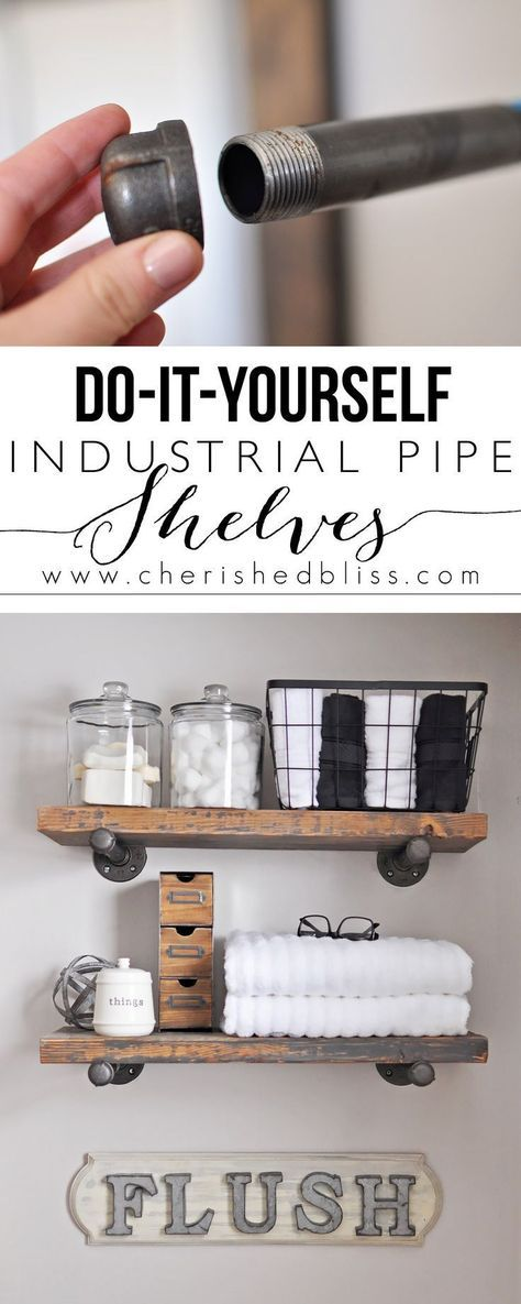 Learn how to Build these Easy DIY Industrial Pipe Shelves for extra bathroom storage.