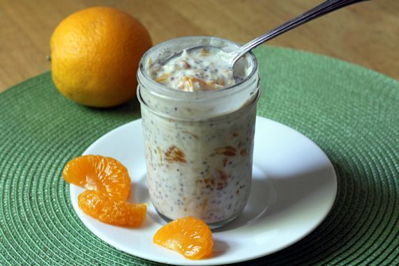 Mandarin Orange Refrigerator Oatmeal *Oats *Milk *Greek yogurt *Chia seeds *Honey *Orange marmalade *Mandarin or fresh oranges