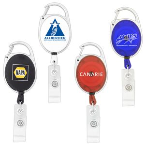 RETRACTABLE BADGE HOLDER  Price includes 1 color, 1 position print   2 Color imprint available for an additional charge