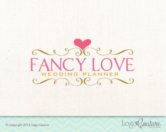 Premade bordure fantaisie avec un cœur - amour fantaisie - Logo pour un planificateur de mariage - petite entreprise