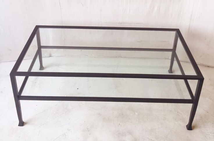 Contemporary Iron and Glass Rectangular Coffee Table $225