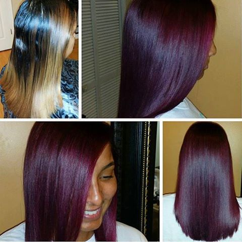 transformation tuesday love this burgundy violet wine haircolor styled dcstylist - Burgundy Violet Hair Color