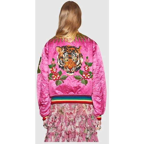 Gucci Embroidered Reversible Silk Bomber ($6,500) ❤ liked on Polyvore featuring outerwear, jackets, bomber jackets, sequin jacket, brown jacket, floral jacket and silk bomber jackets