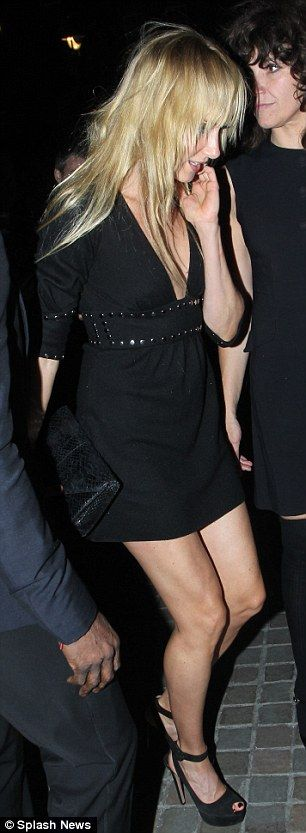 Leggy display: Kimberly Stewart was seen flashing her legs as she headed towards the Chilt...