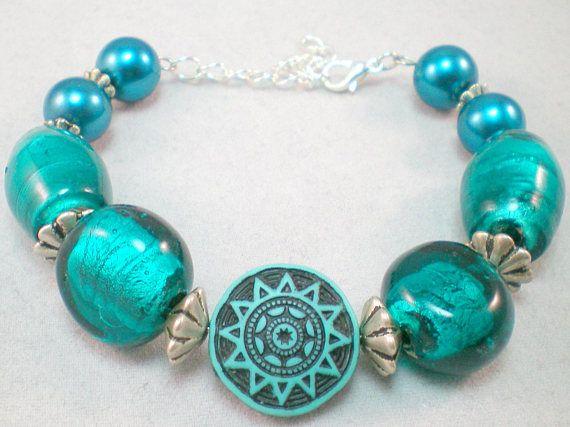 Blue glass bracelet aztec jewelry foil glass mayan blue
