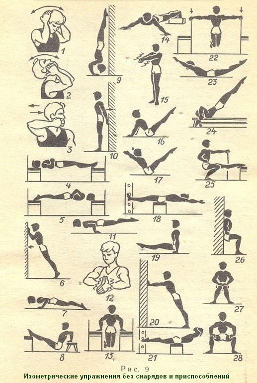 Изометрические упражнения без специальных приспособлений. Упражнения № 1—5 способствую укреплению мышц шеи, упражнения № 6— 11 развивают силу мышц рук (бицепса и трицепса), упражнения № 12—15 укрепляют мышцы груди, упражнения № 16—19 помогут избежать ослабления мышц живота. Для укрепления мышц спины используйте упражнения № 20—24. В завершение комплекса — упражнения для укрепления мышц ног № 25— 28.
