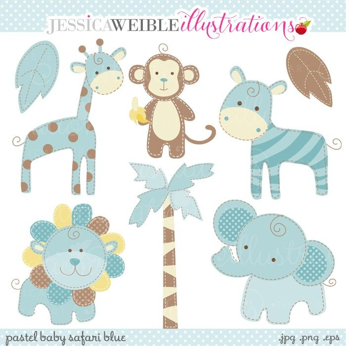 Blue Baby Safari Clipart - JW Illustrations