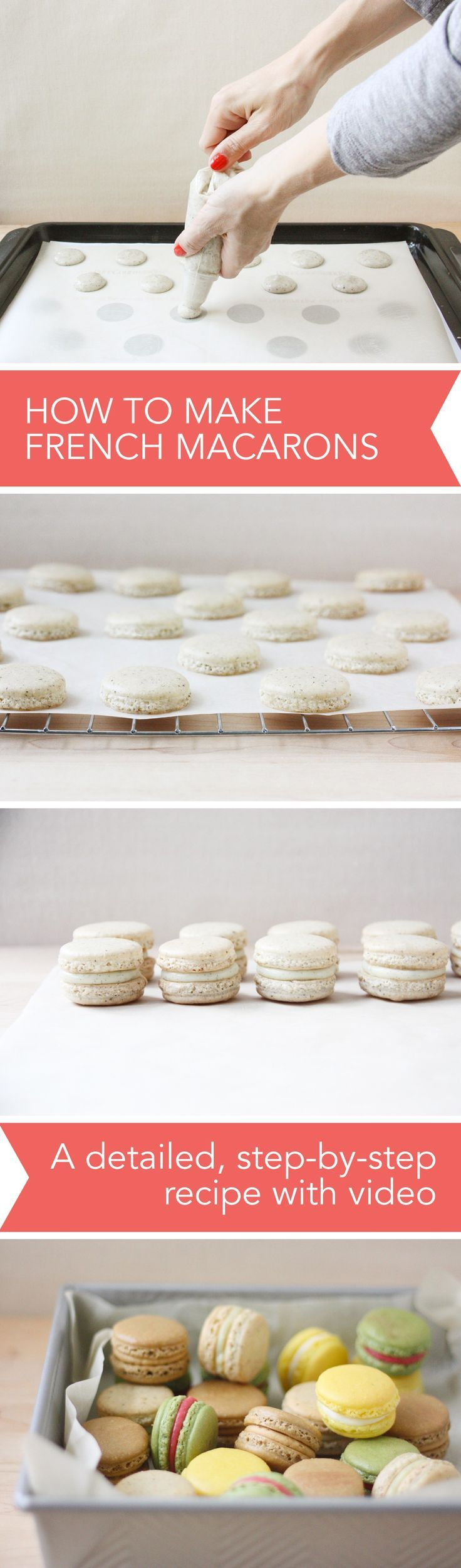 "How to Make French Macarons, a Detailed, Step-by-Step Recipe with Video // <a href=""http://FoodNouveau.com"" rel=""nofollow"" target=""_blank"">FoodNouveau.com</a>"