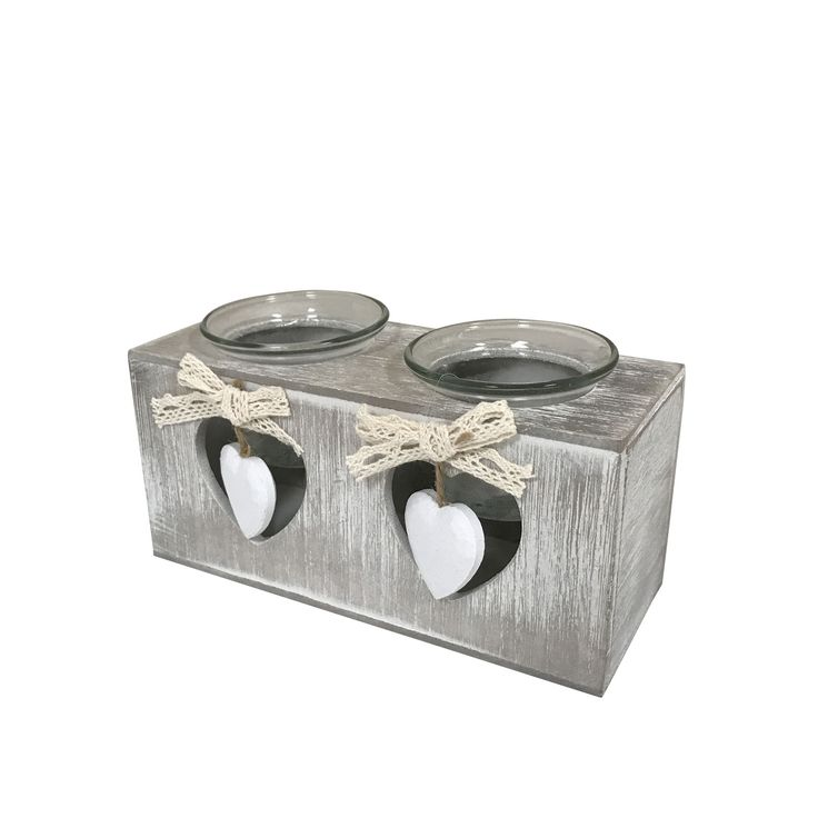 Creative Motion Industries Candles with Tea Lights - With Two Hearts, Glass Jars and 2 LED Candles