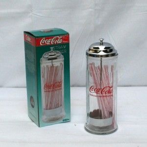 Distributeur de pailles CocaCola en verre