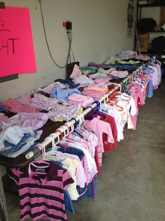 hanging clothes at garage sale | Garage Sale - Easy way to hang kid clothing and not take up any extra ...