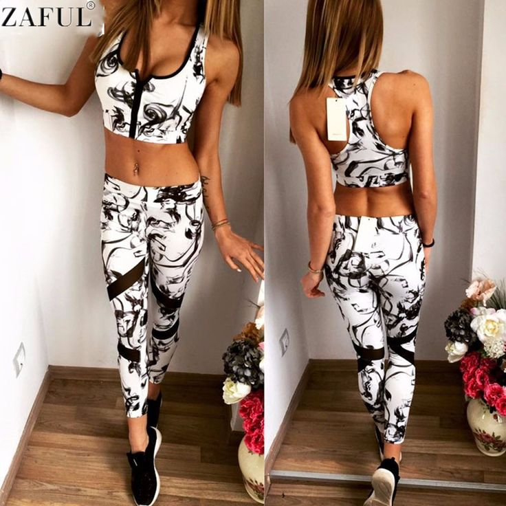 ZAFUL Sport Tracksuit Women 2 Piece Set Women Print Bra cropped+Long Pants Set Tracksuit Gym Running Workout Sport Wear Suit