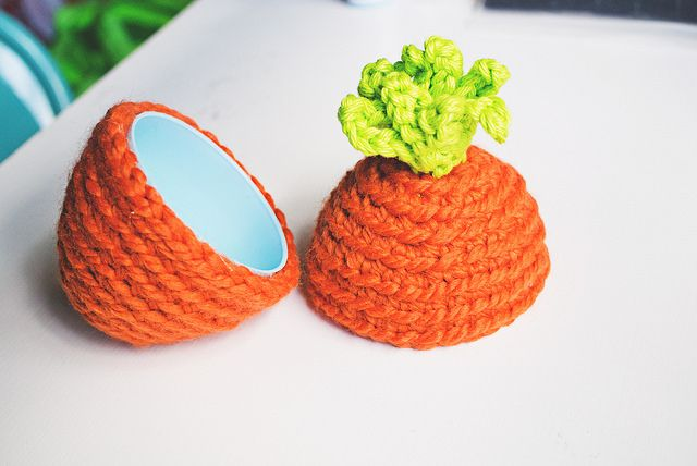 Transform a boring plastic Easter egg into a cute carrot amigurumi with this free pattern by Good Knits!