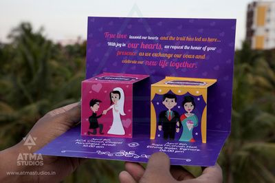 purple wedding cards, illustrations , caricatures , pop up wedding cards , purple pink and yellow cards