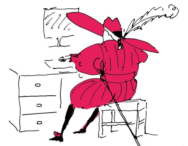 Hombre de espaldas vestido según la moda española del Siglo de Oro tecleando en un ordenador