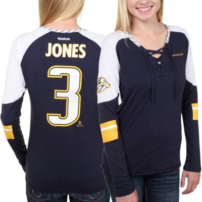 Women's Nashville Predators Seth Jones Reebok Navy Blue Faceoff Player Lace-Up Long Sleeve T-Shirt