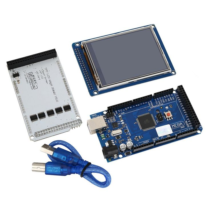 """KOOKYE Mega2560 Board + 3.2"""" TFT LCD Touch Screen + LCD Shield SD Reader for Arduino 3D Printers and Robotics. The MEGA 2560 is designed for more complex projects and is compatible with most shields designed for the Uno and the former boards Duemilanove or Diecimila. This gives your projects plenty of room and opportunities.The ATmega2560 on the Mega 2560 comes preprogrammed with a bootloader that allows you to upload new code to it without the use of an external hardware programmer...."""
