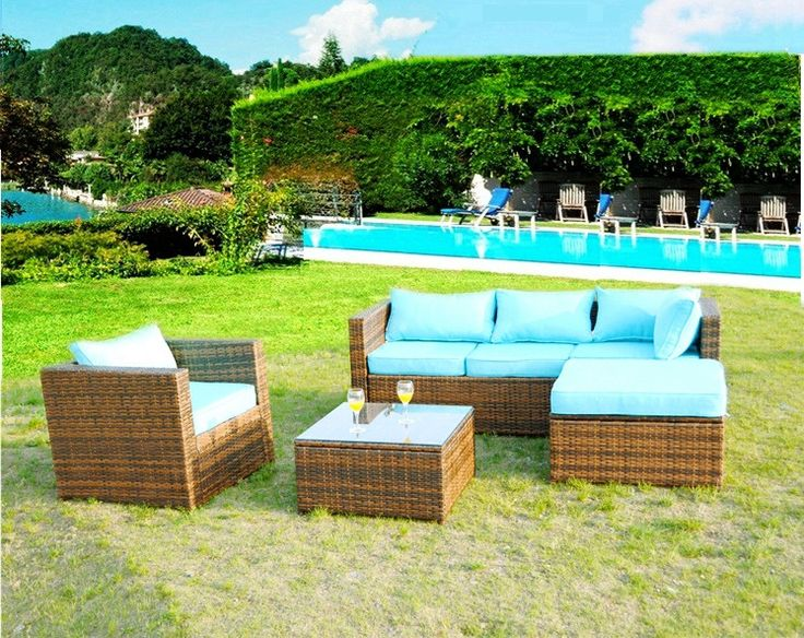 """Monterrey"" Sunbrella 5 Piece Outdoor PE Rattan Wicker Patio Furniture Set w/ Lounger Table Chair"