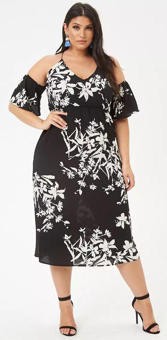 c839225f22ab9 Plus Size Floral Open-Shoulder Maxi Dress