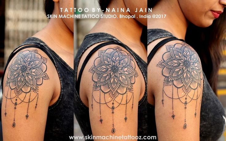 Dotwork Mandala tattoo by Naina Jain at Skin Machine Tattoo Studio   Follow for more artwork - Skin Machine Tattoo Studio  Hope you guys like this too :) Email for bookings- skinmachineteam@gmail.com Contact link in bio www.skinmachinetattooz.com
