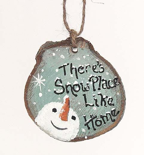 Christmas Ornament Snowman Wood Slice by LindaFehlenGallery