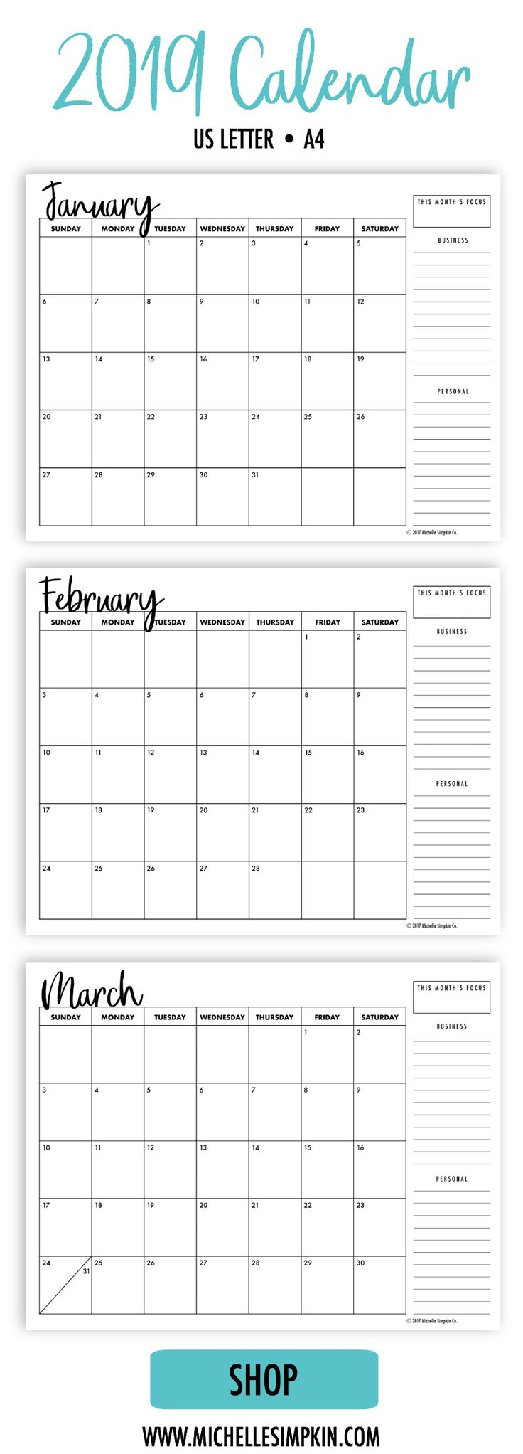2019 Calendar - A simple, minimalist design to help you organize your life and business. Includes both Monday and Sunday starts. Printable Calendars | 2019 Calendar | Monthly Calendar | Monthly Planner #2019calendar #calendarprintable #printable www.michellesimpkin.com/2019-calendars
