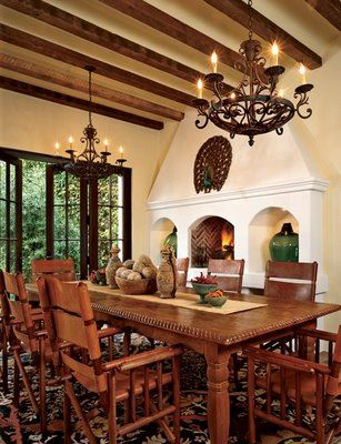 Decor To Adore: Spanish Colonial Interiors - this is similar to my colors now and the wood beams on ceiling.  I am going to take some inspiration from this.