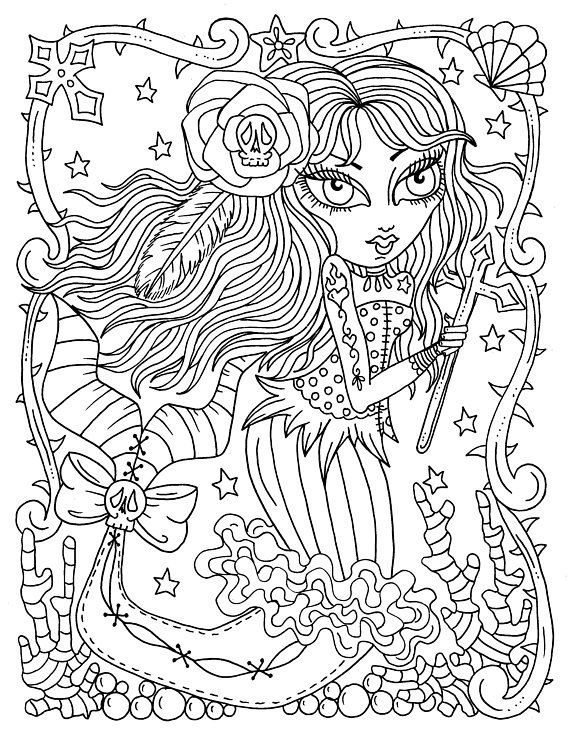 Instant Download Gothic Mermaids Coloring Book For All Ages Adult Color Digi Digital Download Printables Gothic Mermaid Coloring Book Mermaid Coloring Pages Mermaid Coloring