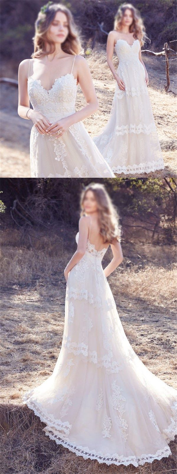 Charming Lace Beach Wedding Dress, A-line Simple Sexy Spaghetti Wedding Dresses, Bridal Dresses, PD0429