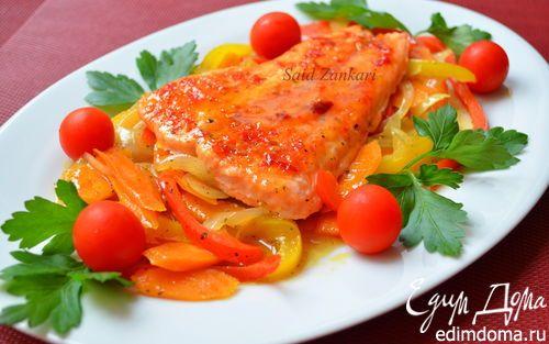 Семга с пряной карамелью и овощами | Кулинарные рецепты от «Едим дома!»