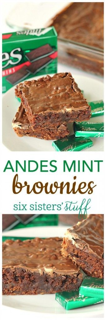 Andes Mint Brownies from http://SixSistersStuff.com | One of the most popular recipes on our blog is our Andes Mint Cookies . . . so I decided to try a brownie version! Let me just say that the results were heavenly!! Mint chocolate lovers will literally drool over these rich brownies!