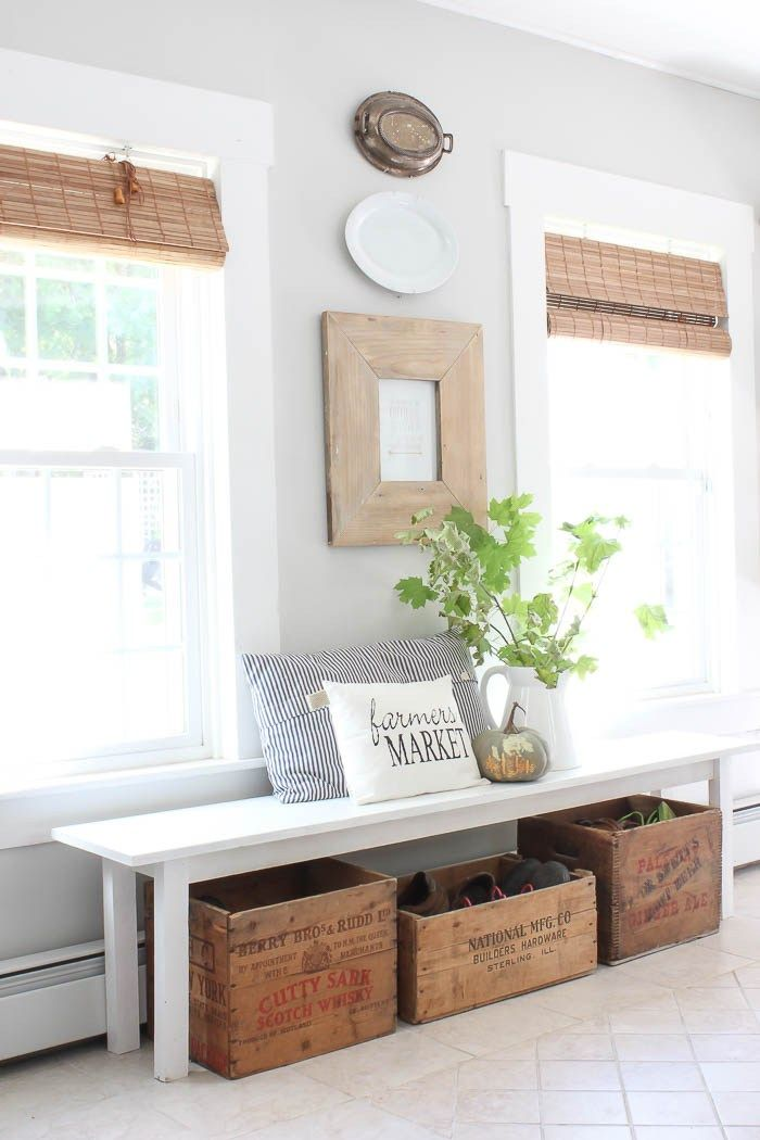 Vintage wood crates make great hiding places for shoes, toys, or anything else you don't want strewn about