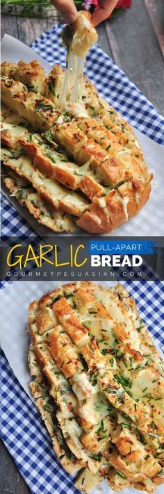Looks impressive? Its really easy to make. 6 ingredients and 30 minutes are all you need for this cheesy garlic pull-apart bread. Serve it as a side, an appetizer, or a snack. Bring it to a potluck or tailgate party to knock everyones socks off! #garlic