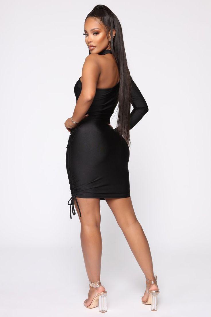 Better on this side ruched mini dress black mini black