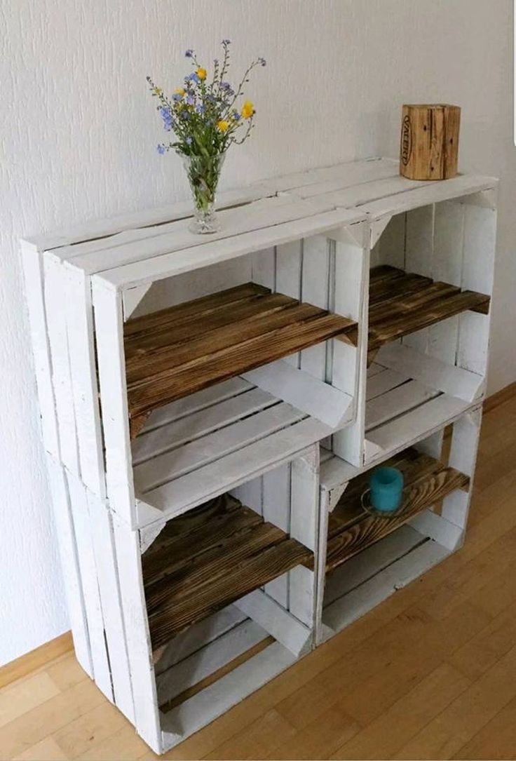 Crate bookcase white wooden box shabby chic flooring