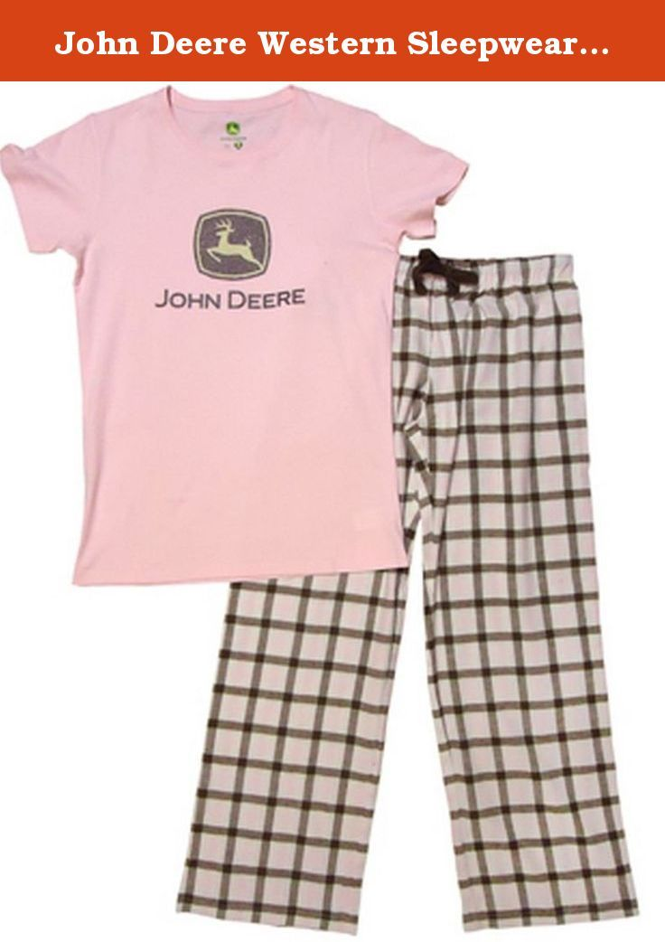 John Deere Western Sleepwear Women Glitter TM 2 Pc Set L Pink 23185258. Womens John Deere Sleepwear: Womens John Deere Western Apparel. For those lazy nights! This John Deere Glitter TM Lounge Set features John Deere Trademark Glitter Logo tonal printed on the front of our short sleeve crew neck jersey tee. Featuring our pink and brown plaid flannel jersey sleep pant. 23185258.