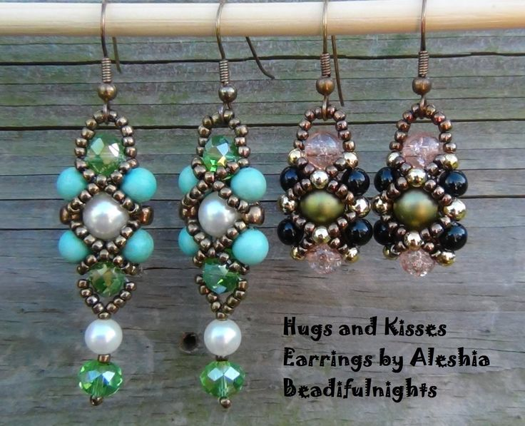 Hugs and Kisses Beaded Earrings from beadifulnights ~ Seed Bead Tutorials